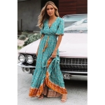 V-neck Beach Holiday Lace-up Print Dress (Color:Lake Blue Size:L)