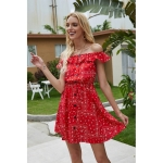 Ruffled Shoulder-breasted Printed Dress (Color:Red Size:L)
