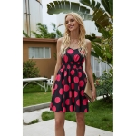 Polka Dot Print V-neck Strap Dress (Color:Black Size:L)