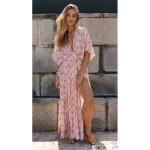 V-neck Sexy Side Slit Bat Sleeve Print Dress (Color:Pink Size:S)