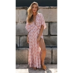 V-neck Sexy Side Slit Bat Sleeve Print Dress (Color:Pink Size:L)