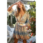 V-neck Dress With Large Flared Sleeves And Drawstring (Color:Apricot Blue Size:L)