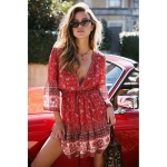 V-neck Dress With Large Flared Sleeves And Drawstring (Color:Red Size:M)