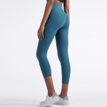 One Piece High Waist Tight Yoga Pants (Color:Petrol Blue Size:XL)