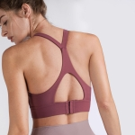 Y-shaped Wide Shoulder Belt Geometric Hollow Out Shockproof Nude Yoga Sports Underwear (Color:Plumful Size:XL)