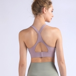 Y-shaped Wide Shoulder Belt Geometric Hollow Out Shockproof Nude Yoga Sports Underwear (Color:Smoky Blush Size:S)