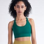 Y-shaped Wide Shoulder Belt Geometric Hollow Out Shockproof Nude Yoga Sports Underwear (Color:Laguna Size:L)