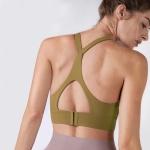 Y-shaped Wide Shoulder Belt Geometric Hollow Out Shockproof Nude Yoga Sports Underwear (Color:Crape Size:L)