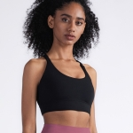 Y-shaped Wide Shoulder Belt Geometric Hollow Out Shockproof Nude Yoga Sports Underwear (Color:Black Size:M)