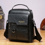 WEIXIER 8642 Men Business Retro PU Leather Handbag Crossbody Bag (Black)