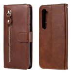 For Xiaomi Mi Note 10 Lite Fashion Calf Texture Zipper Horizontal Flip Leather Case with Stand & Card Slots & Wallet Function(Brown)