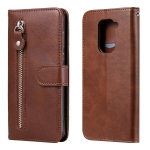 For Xiaomi Redmi Note 9 / 10X 5G Fashion Calf Texture Zipper Horizontal Flip Leather Case with Stand & Card Slots & Wallet Function(Brown)