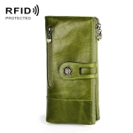 3513 Antimagnetic RFID Multi-function Retro Leather Lady Wallet Large-capacity Purse with Card Holder(Red)