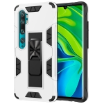 For Xiaomi Mi CC9 Pro Armor Shockproof TPU + PC Magnetic Protective Case with Invisible Holder(White)