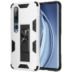 For Xiaomi Mi 10 5G / 10 Pro 5G Armor Shockproof TPU + PC Magnetic Protective Case with Invisible Holder(White)