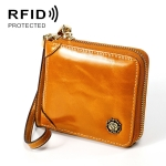 8251 Antimagnetic RFID Multi-function Oil Wax Leather Lady Zipper Wallet Purse with Lanyard(Yellow)