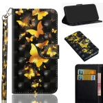For Sony Xperia 5 3D Painting Pattern Horizontal Flip TPU + PU Leather Case with Holder & Card Slots & Wallet(Golden Butterfly)