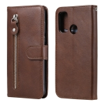 For Huawei P smart 2020 Fashion Calf Texture Zipper Horizontal Flip Leather Case with Stand & Card Slots & Wallet Function(Brown)