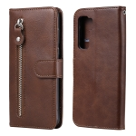 For Huawei P40 Lite (5G) / Nova 7 SE Fashion Calf Texture Zipper Horizontal Flip Leather Case with Stand & Card Slots & Wallet Function(Brown)
