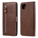 For Huawei Y5p Fashion Calf Texture Zipper Horizontal Flip Leather Case with Stand & Card Slots & Wallet Function(Brown)