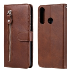 For Huawei Y6p Fashion Calf Texture Zipper Horizontal Flip Leather Case with Stand & Card Slots & Wallet Function(Brown)