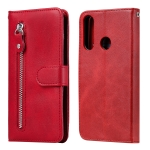 For Huawei Y6p Fashion Calf Texture Zipper Horizontal Flip Leather Case with Stand & Card Slots & Wallet Function(Red)