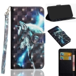 For Vivo Y91C 3D Painting Pattern Horizontal Flip TPU + PU Leather Case with Holder & Card Slots & Wallet(Wolf)
