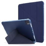 For iPad Pro 11 (2020/2018) Multi-folding Horizontal Flip PU Leather + Shockproof TPU Case with Holder & Pen Slot(Dark Blue)