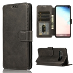 For Samsung Galaxy S10 Plus Calf Texture Magnetic Buckle Horizontal Flip Leather Case with Holder & Card Slots & Wallet & Photo Frame(Black)