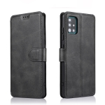For Samsung Galaxy A51 / A71 Calf Texture Magnetic Buckle Horizontal Flip Leather Case with Holder & Card Slots & Wallet & Photo Frame(Black)