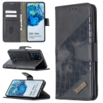 For Samsung Galaxy S20 Ultra Matching Color Crocodile Texture Horizontal Flip PU Leather Case with Wallet & Holder & Card Slots(Black)