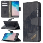 For Samsung Galaxy S10 Matching Color Crocodile Texture Horizontal Flip PU Leather Case with Wallet & Holder & Card Slots(Black)