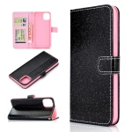 For iPhone 12 Glitter Powder Horizontal Flip Leather Case with Card Slots & Holder & Photo Frame & Wallet & Lanyard(Black)
