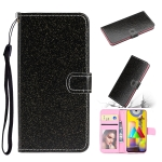 For Samsung Galaxy A21s Glitter Powder Horizontal Flip Leather Case with Card Slots & Holder & Photo Frame & Wallet & Lanyard(Black)
