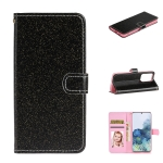 For Samsung Galaxy Note20 Ultra Glitter Powder Horizontal Flip Leather Case with Card Slots & Holder & Photo Frame & Wallet & Lanyard(Black)