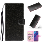 For Huawei P Smart 2020 Glitter Powder Horizontal Flip Leather Case with Card Slots & Holder & Photo Frame & Wallet & Lanyard(Black)