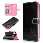 For Huawei Y6p Glitter Powder Horizontal Flip Leather Case with Card Slots & Holder & Photo Frame & Wallet & Lanyard(Black)