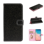 For Huawei Y5p Glitter Powder Horizontal Flip Leather Case with Card Slots & Holder & Photo Frame & Wallet & Lanyard(Black)