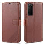 For Huawei Honor Play4 AZNS Sheepskin Texture Horizontal Flip Leather Case with Holder & Card Slots & Wallet(Brown)