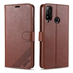 For Huawei Honor Play 4T AZNS Sheepskin Texture Horizontal Flip Leather Case with Holder & Card Slots & Wallet(Brown)