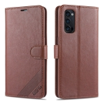 For Oppo Reno4 / Reno4 Pro AZNS Sheepskin Texture Horizontal Flip Leather Case with Holder & Card Slots & Wallet(Brown)