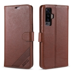 For Vivo X50 AZNS Sheepskin Texture Horizontal Flip Leather Case with Holder & Card Slots & Wallet(Brown)