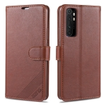 For Xiaomi Mi Note 10 Lite AZNS Sheepskin Texture Horizontal Flip Leather Case with Holder & Card Slots & Wallet(Brown)