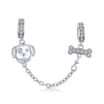 Sterling Silver S925 Pet Dog Beaded DIY Safety Chain Bracelet Accessories
