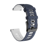 20mm For Huawei Watch GT2e 42mm / Samsung Galaxy Watch Active 2 Silicone Wrist Strap(Dark Blue+White)
