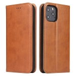 For iPhone 12 Fierre Shann PU Genuine Leather Texture Horizontal Flip Leather Case with Holder & Card Slots & Wallet(Brown)