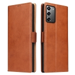 For Samsung Galaxy Note20 Fierre Shann PU Genuine Leather Texture Horizontal Flip Leather Case with Holder & Card Slots & Wallet(Brown)