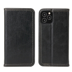 For iPhone 12 Pro Fierre Shann Retro Tree Bark Texture PU Magnetic Horizontal Flip Leather Case with Holder & Card Slots & Wallet(Black)