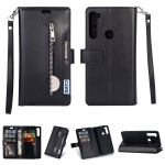 For Xiaomi Redmi Note 8 Multifunctional Zipper Horizontal Flip Leather Case with Holder & Wallet & 9 Card Slots & Lanyard(Black)