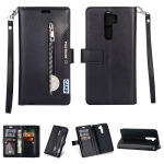 For Xiaomi Redmi Note 8 Pro Multifunctional Zipper Horizontal Flip Leather Case with Holder & Wallet & 9 Card Slots & Lanyard(Black)